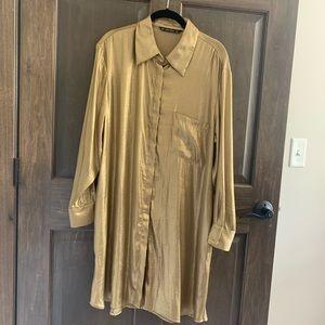 Gold shirt dress